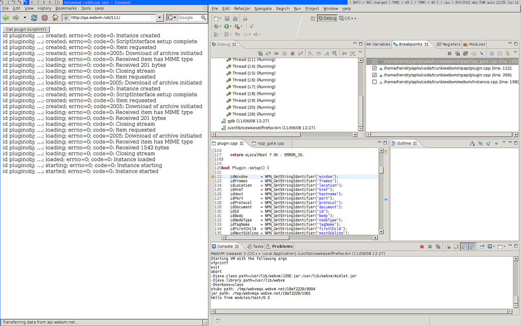 Eclipse debugging Firefox 3 with the WebVM plugin