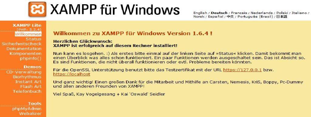 Startseite XAMPP für Windows